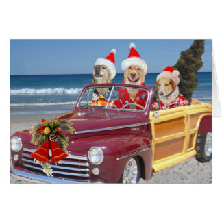 Dog/Lab on the Beach in Santa Hat & Hawaiian Shirt Card