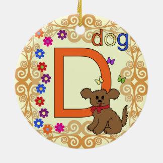Dog Letter D Round Ceramic Ornament