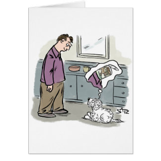 Dog looking at owner and thinking of food. card