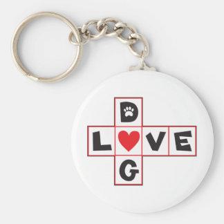 Dog Love Basic Round Button Keychain