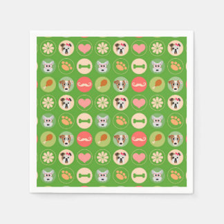Dog Love on Green Paper Napkins