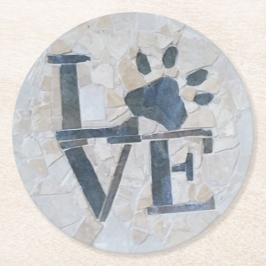 Dog Love Round Paper Coaster