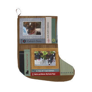 Dog Lover Books On A Shelf Large Christmas Stocking