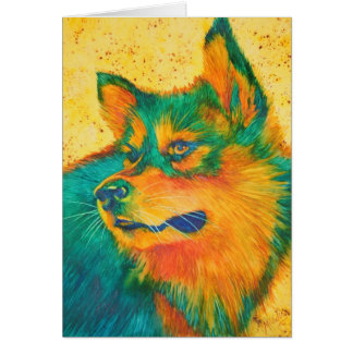 Dog Lover Colorful Greeting Card Husky