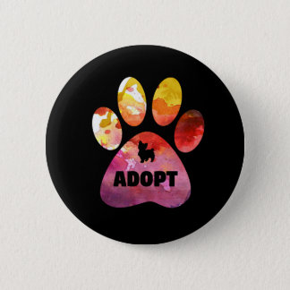 Dog Lover Gifts. Adopt. Dogs Paw, Watercolor 2 Inch Round Button