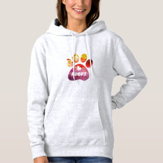 Dog Lover Gifts. Adopt. Dogs Paw, Watercolor Hoodie