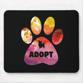 Dog Lover Gifts. Adopt. Dogs Paw, Watercolor Mouse Pad