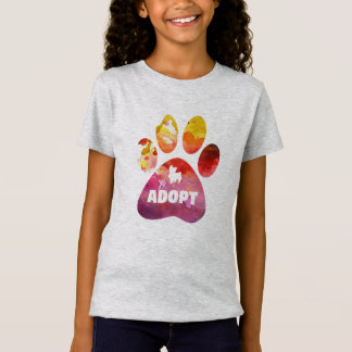 Dog Lover Gifts. Adopt. Dogs Paw, Watercolor T-Shirt
