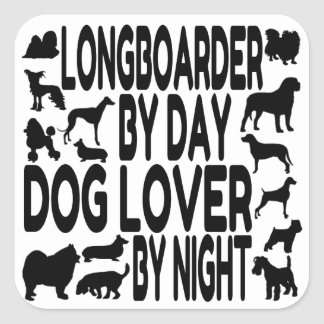 Dog Lover Longboarder Square Sticker
