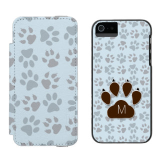 Dog Lover Monogrammed Initial and Paw Prints Incipio Watson™ iPhone 5 Wallet Case