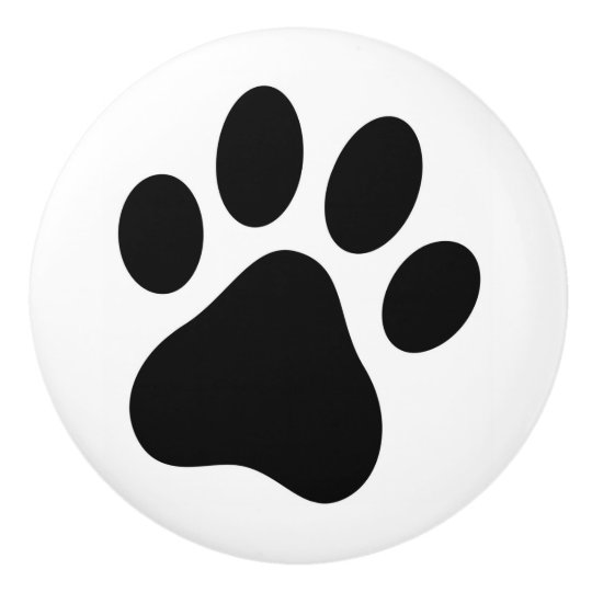 Dog Lover Paw Print Drawer Pull Pet Rescue Ceramic Knob