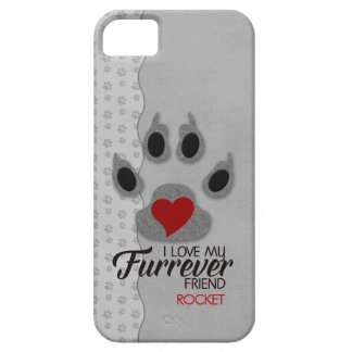 Dog Lover Red Heart Gray Feline Paw iPhone 5 Cases