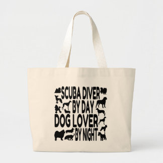 Dog Lover Scuba Diver Large Tote Bag