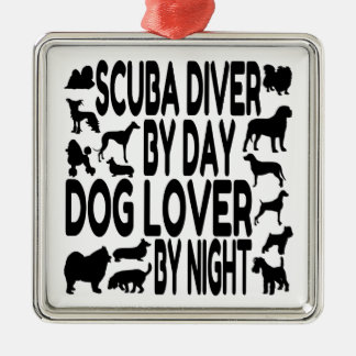 Dog Lover Scuba Diver Metal Ornament