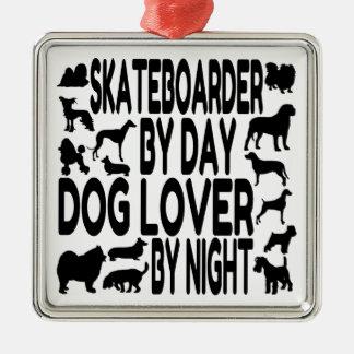 Dog Lover Skateboarder Metal Ornament
