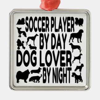 Dog Lover Soccer Player Metal Ornament