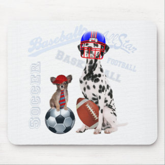 Dog Lover Sports with Papillon and Dalmatian Mouse Pad