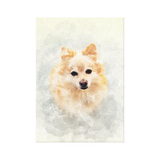 Dog lover! Watercolour Ginger Pomeranain Dog Canvas Print