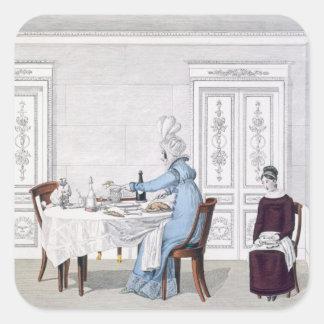 Dog Mania, plate 106 from 'Le Bon Genre, 1818 (col Square Sticker