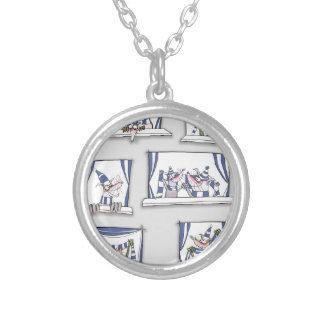 dog match day blues silver plated necklace