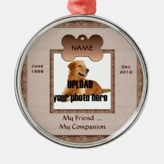 Dog Memorial Brown Tones Metal Ornament