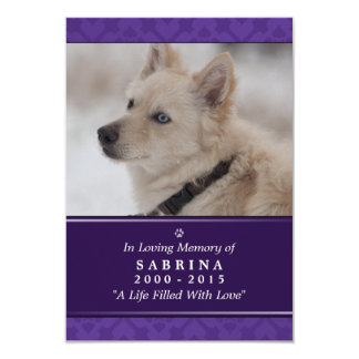 "Dog Memorial Card 3.5"" x 5"" - Purple Photo Modern"