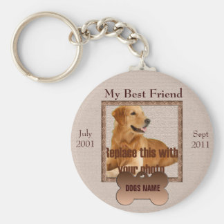 Dog Memorial in Beautiful Brown Tones Keychain