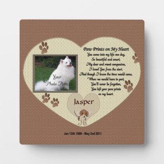 Dog Memorial - Paw Prints on My Heart - Beige Plaque