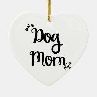 Dog Mom Ceramic Heart Ornament