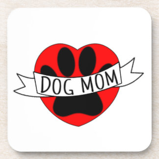 Dog Mom Paw And Red Heart Drawing Coaster