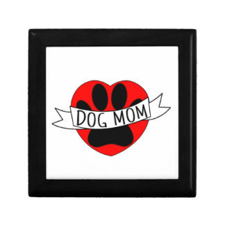 Dog Mom Paw And Red Heart Drawing Gift Box
