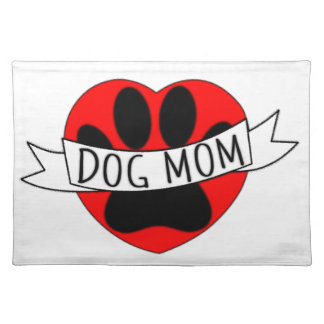 Dog Mom Paw And Red Heart Drawing Placemat