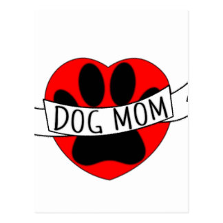 Dog Mom Paw And Red Heart Drawing Postcard