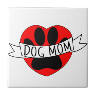 Dog Mom Paw And Red Heart Drawing Tile