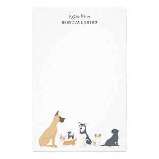 Dog Mom Rescue Mom Dad Dog Breeds II Stationery