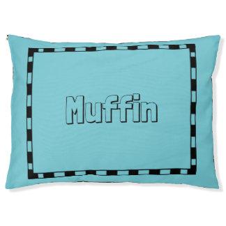 Dog-Monogram-Bed-Stylish-Blue-Black-Border Pet Bed