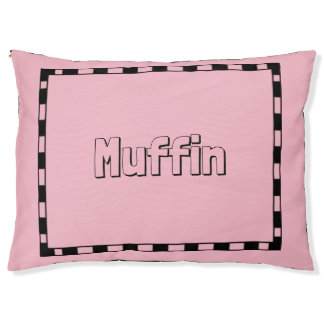 Dog-Monogram-Bed-Stylish-Pink--Black-Border Pet Bed