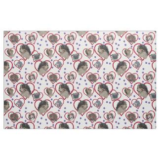 Dog multi Love heart pattern. Fabric