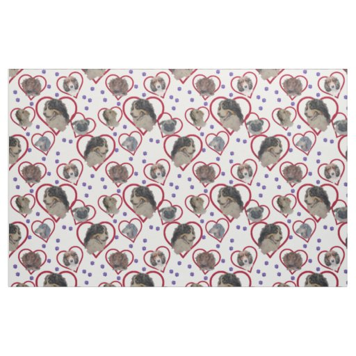 Dog multi Love heart pattern. Fabric