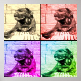 Dog musical art four image split poster