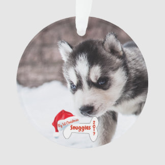 Dog My First Christmas Puppy Photo Name Dog Bone Ornament
