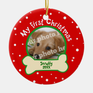 Dog My First Christmas Red and Green Pet Photo Round Ceramic Ornament