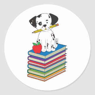 Dog on Books Round Sticker