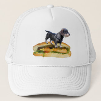 Dog on hot dog trucker hat
