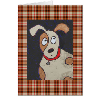 Dog on plaid card