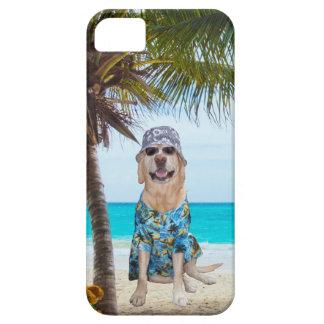Dog on the Beach in Hawaiian Shirt iPhone 5 Case