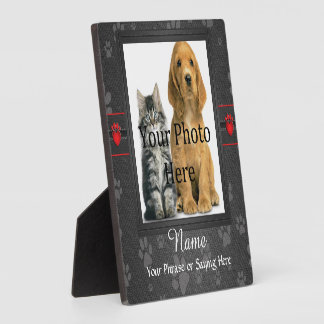 Dog or Cat Custom Gray Paw Prints Memorial Plaque