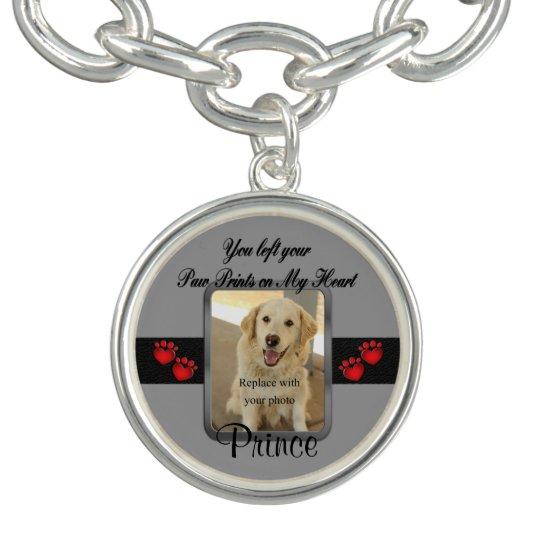 Dog or Cat Custom Paw Prints on My Heart Charm Bracelets