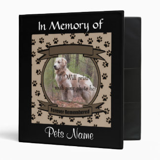 Dog or Cat Forever Remembered Memorial Vinyl Binder