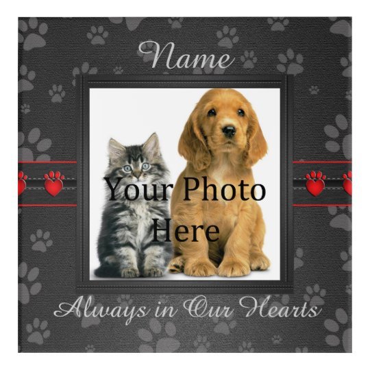 Dog or Cat Paw Prints Pet Memorial to Personalize Acrylic Wall Art